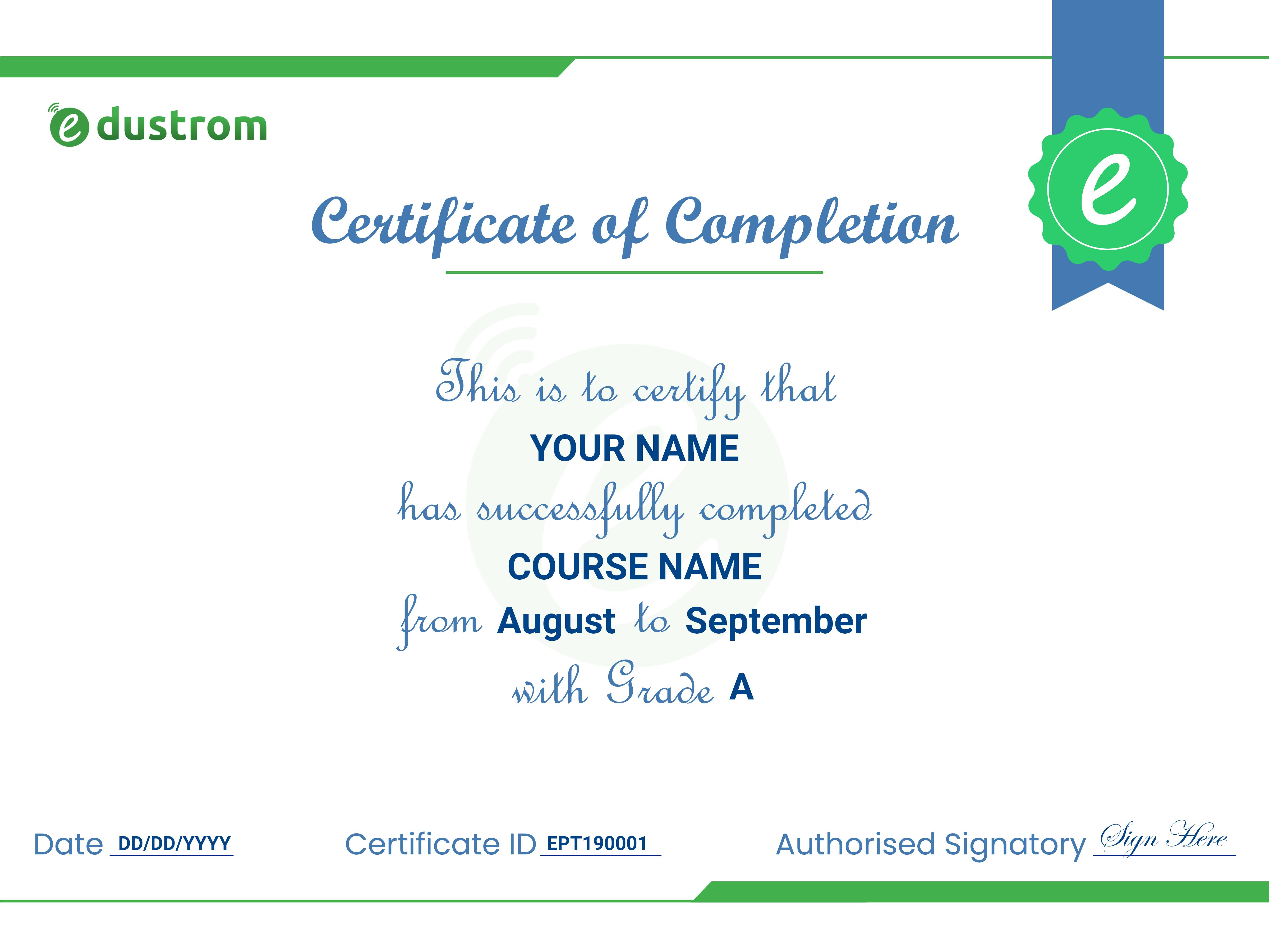 Edustrom Certificate